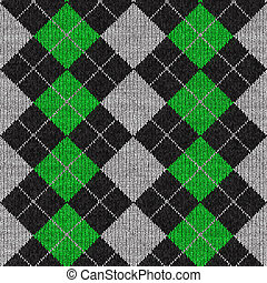 Argyle Pattern - A green and black plaid argyle pattern that...