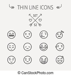 Emoji thin line icon set for web and mobile Set includes-...