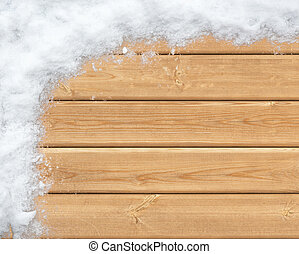 Snow-covered wooden surface - Top view of wooden surface...