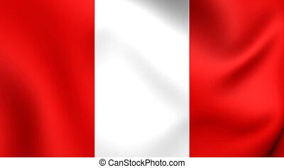 Flag of Peru. Close Up.