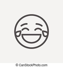 Laughing emoticon with tears of joy thin line icon -...