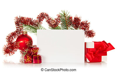 New Years fir-tree branch and Christmas card - New Years...