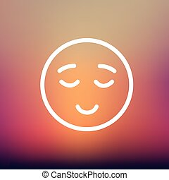 Smiling while sleeping thin line icon - Smiling while...