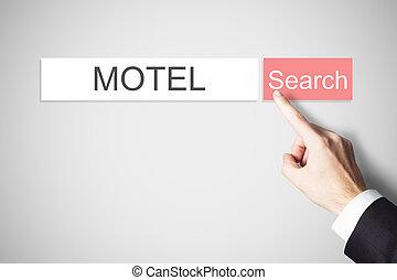 businessmans finger pressing search button motel webbrowser...