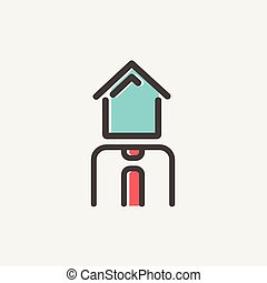Real estate agent thin line icon