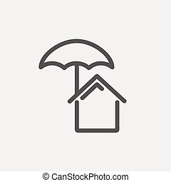 House insurance thin line icon - House insurance icon thin...