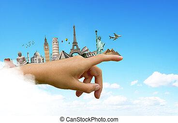 monumentos, de, a, mundo, ligado, Um, mulher, mão,