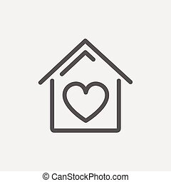 Contoured house thin line icon - Contoured house icon thin...