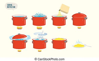 Set icons for instruction Infographics Cooking porridge
