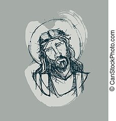Jesus at His Passion d - Hand drawn vector illustration or...