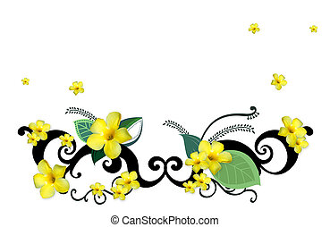 flower - illustration drawing of beautiful flower in a white...