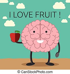 Brain character with apple - Smiling brain character holding...