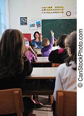 lycklig, lärare, skola, klassrum