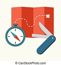 Compass, map with path and penknife - Flat vector elements...