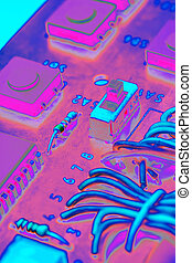 Electronic components on a printed-circuit board background