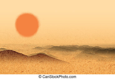 sun and desert - illustration drawing of beautiful sun and...
