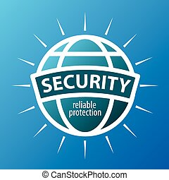 Round vector logo protection globe
