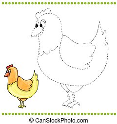 Connect the dots and coloring page of funny farm chicken
