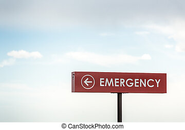 Emergency sign leading to the hospital - Emergency sign...