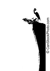 chinese painting of crane and cliff - chinese painting of...