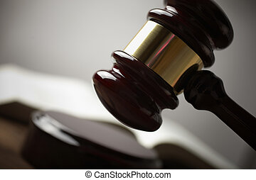 gavel - juridical concept with hammer and lawbook, selective...
