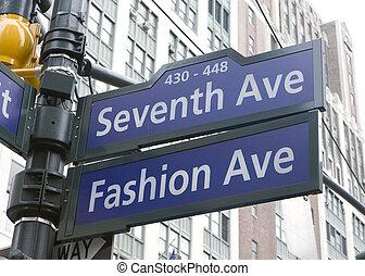 EUA, avenida, cidade,  York, 7o, Novo