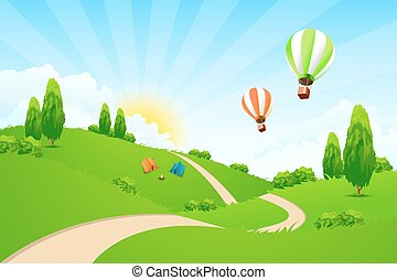 Green Landscape with Road, Hot-air-Balloons, Tourists Tents...