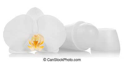 Deodorant and orchid flower isolated on white