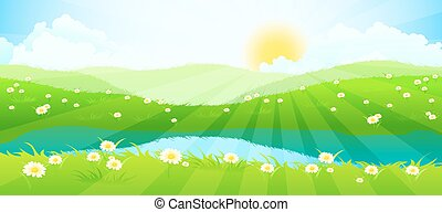 Green Landscape with Clouds, Flowers and River