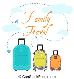 Family travel three suitcases