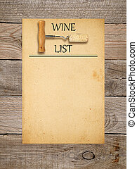 Wine list design - corkscrew with cork and old paper on...