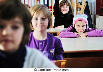 happy children group in school - happy childrens group in...