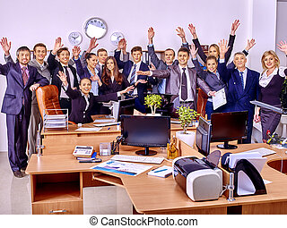 Group business people in office. - Happy group business...
