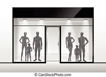 Clothing Shop Boutique Store Front with Mannequins - Vector...