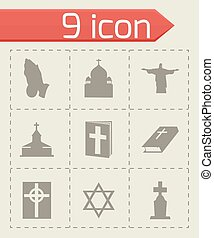 Vector religion icons set on grey background