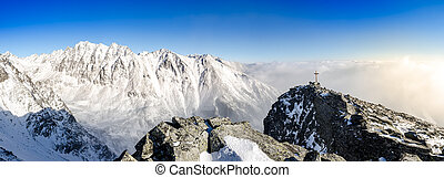 Panoramic scenic view of winter mountains in High Tatras, Slovakia