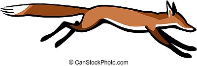 Quick Fox - vector illustration a red fox running fast