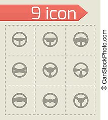 Vector steering wheels icon set