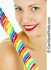 portrait of woman with a lollypop