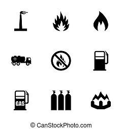 Vector natural gas icon set on white background