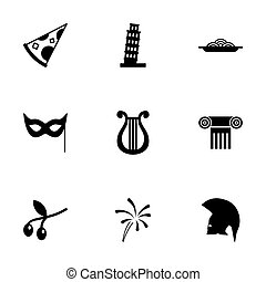 Vector italian icon set on white background