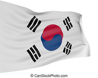 3D South-Korean flag with fabric surface texture White...