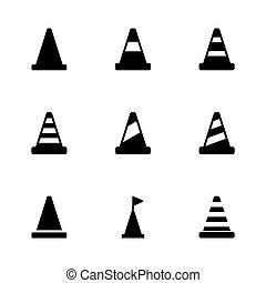 Vector black traffic cone icon set on white background