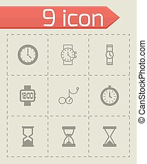 Vector black clock icon set