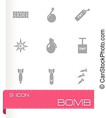 Vector bomb icon set on grey background