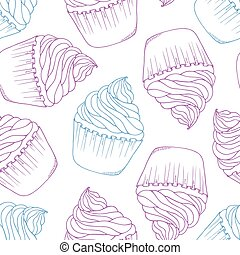 Hand drawn cupcake seamless pattern. Outline doodle dessert background