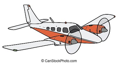 Twin-engine airplane - Hand drawing of a small twin-engine...