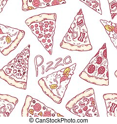 Hand drawn different pizza slices seamless pattern. Pizzeria background