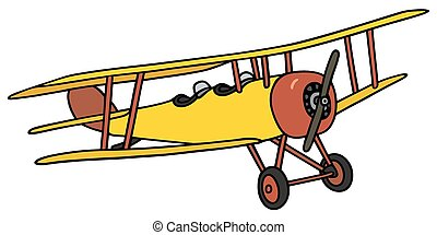 Yellow biplane - Hand drawing of a vintage yellow biplane -...