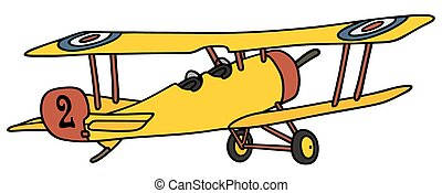 Yellow biplane - Hand drawing of a vintage yellow military...